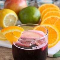 Easy Virgin Sangria - only 2 ingredients plus fresh cut fruit. A bubbly, fruity drink perfect for any party!