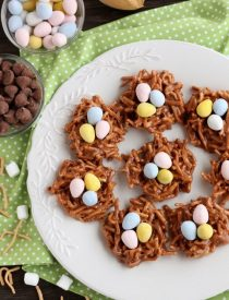 Peanut Butter Chocolate Nests are so quick to whip up, for a chewy, chocolatey, Easter treat!