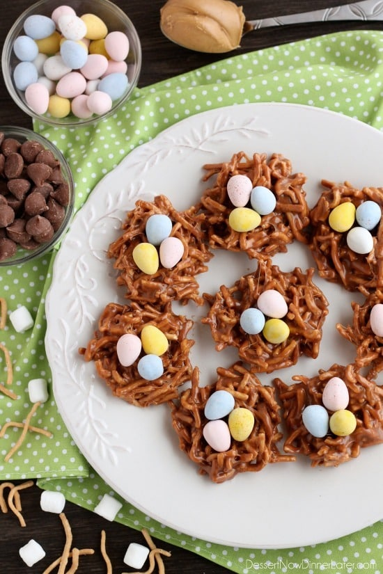 Peanut butter chocolate nests dessert now dinner later for Quick and easy easter treats recipes