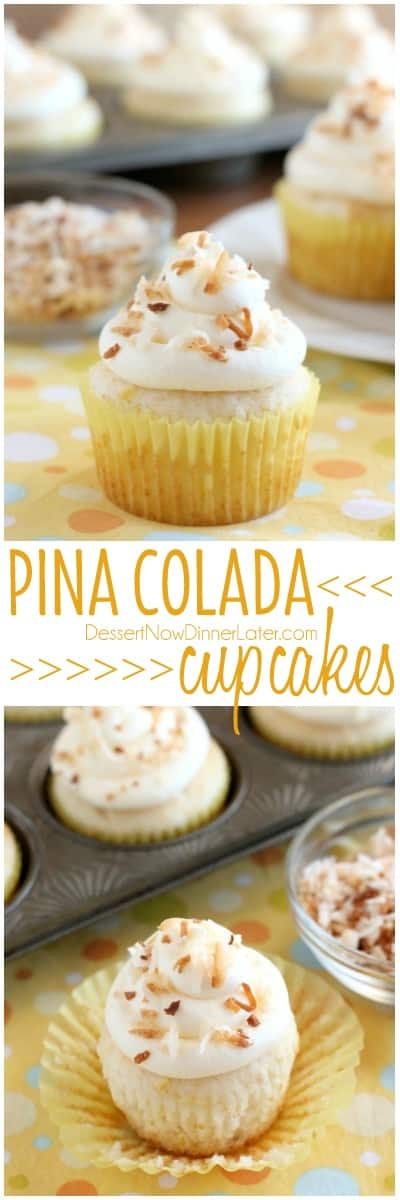 These Pina Colada Cupcakes have crushed pineapple in the cake, and ...
