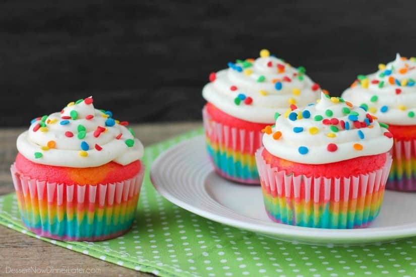 Rainbow Cupcakes (+ Video) - Dessert Now, Dinner Later!