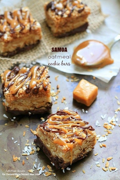 Samoa Oatmeal Cookie Bars - These soft oatmeal cookie bars combine the beloved caramel, chocolate and coconut flavors of the Samoa Girl Scout cookies.