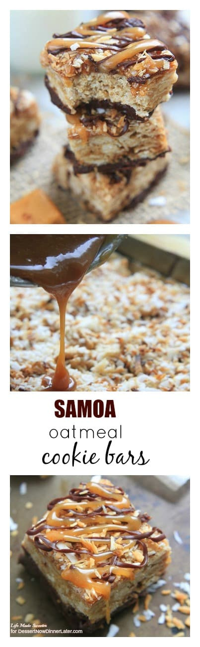 Samoa Oatmeal Cookie Bars - These soft oatmeal cookie bars combine the beloved caramel, chocolate, and coconut flavors of the Samoa Girl Scout Cookies.