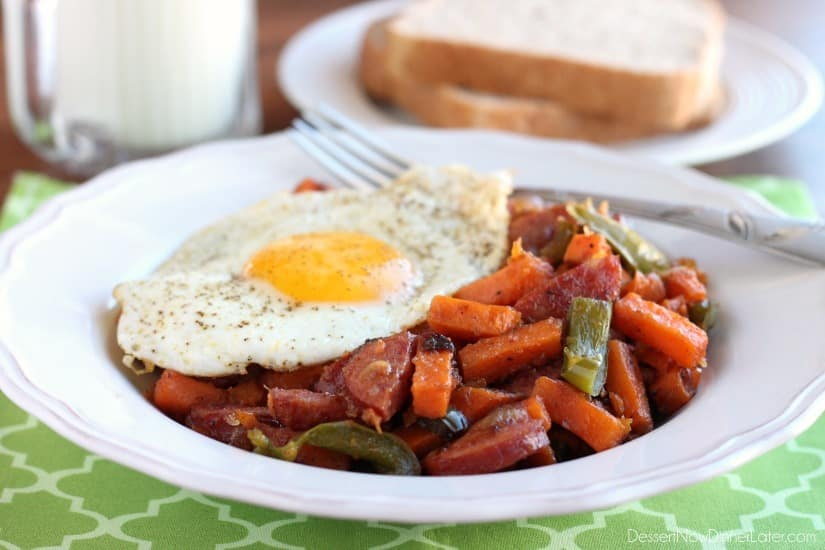Sausage and Sweet Potato Hash is made easy with Alexia Sweet Potato Fries! Top it all off with a sunny side up egg for a great breakfast or breakfast for dinner option!