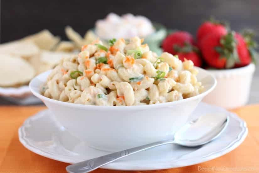 This Hawaiian-style macaroni salad is super creamy, lightly sweet, and truly the BEST macaroni salad out there! The perfect side dish for any party or potluck!