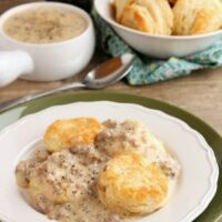 Biscuits and Gravy - a simple and spicy peppered sausage gravy atop flaky, foolproof buttermilk biscuits makes for a great breakfast or brunch!