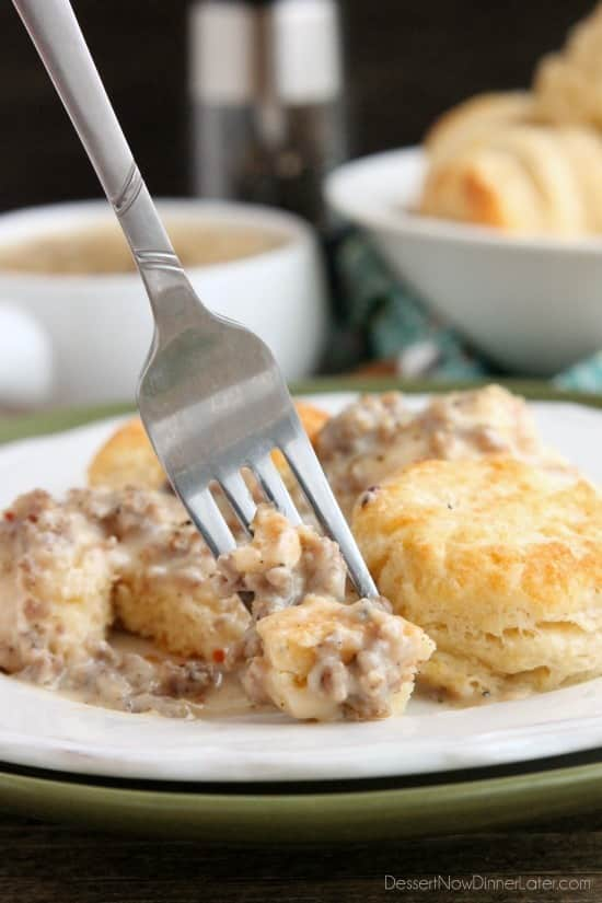 ... sausage gravy atop flaky, foolproof buttermilk biscuits, makes a great