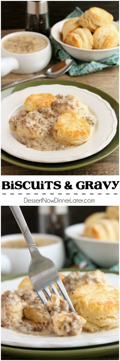 Biscuits and Gravy - a simple and spicy peppered sausage gravy atop flaky, foolproof buttermilk biscuits, makes a great breakfast or brunch option!