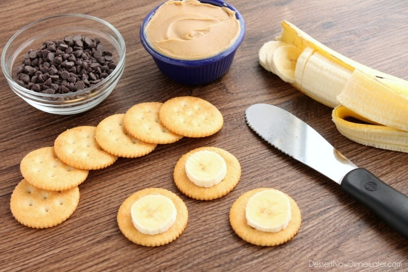 Chocolate Peanut Butter Banana RITZ® Bites - cracker + banana