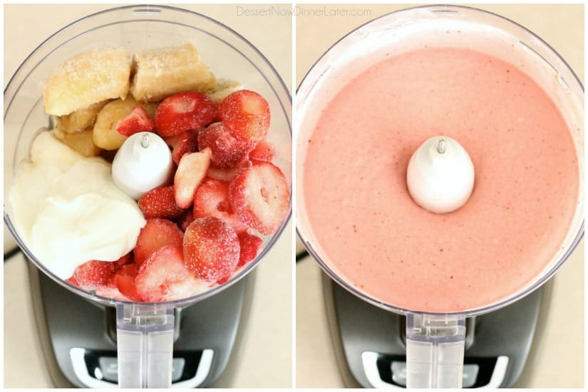With only 5 ingredients and 5 minutes or less in the food processor (or blender), you can have this healthy Instant Strawberry Banana Frozen Yogurt!