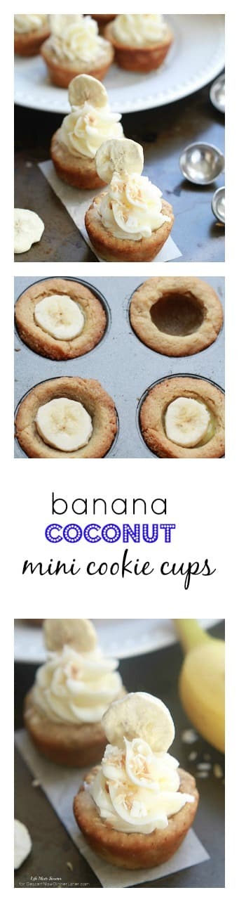 Banana Coconut Mini Cookie Cups - Tropical inspired coconut cookie cups filled with sliced bananas and topped with a swirled coconut buttercream frosting.