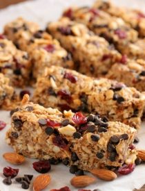 These Peanut Butter Chocolate Trail Mix Granola Bars are made with wholesome ingredients to create homemade granola bars you feel good about eating.