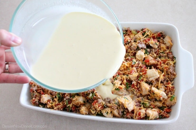 Savory Breakfast Bread Pudding has sausage, tomatoes, eggs, and herbs ...