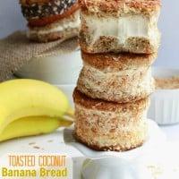 Toasted Coconut Banana Bread Ice Cream Sandwiches