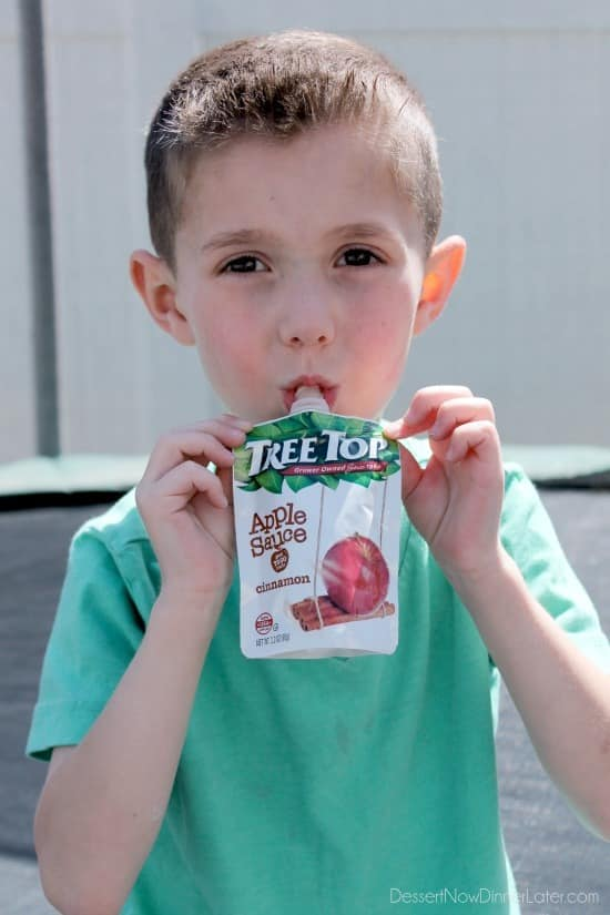 Tree Top Apple Sauce Pouches provide an easy way for your kids to enjoy fruit on-the-go.
