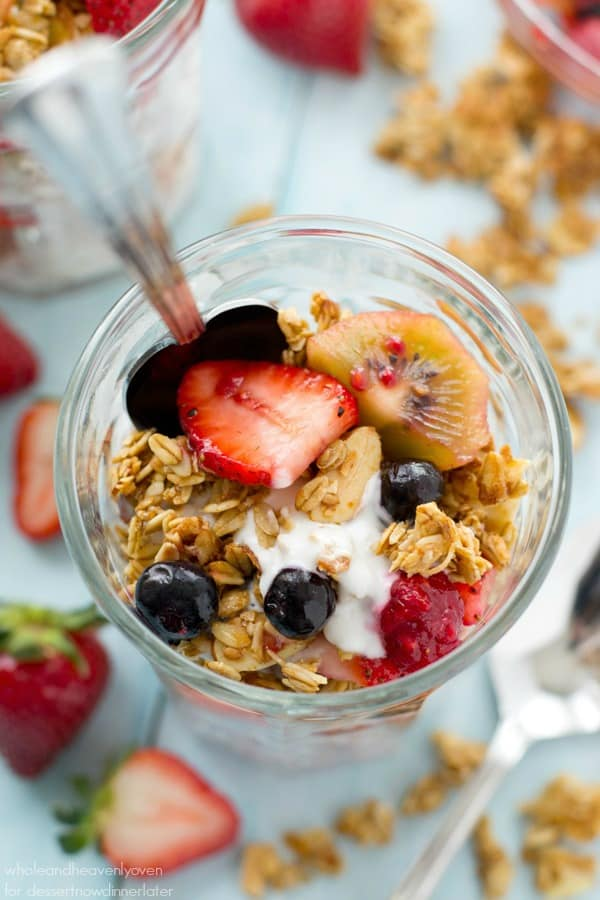 These pretty granola parfaits are loaded with a triple-delight of juicy berries, crispy granola, and the best coconut yogurt you'll ever taste. Destined to become your new go-to breakfast!