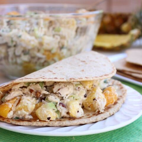 This isn't your grandma's chicken salad! Try this new and refreshing Aloha Chicken Salad full of sweet and savory tropical flavors on a buttery croissant or homemade wrap!