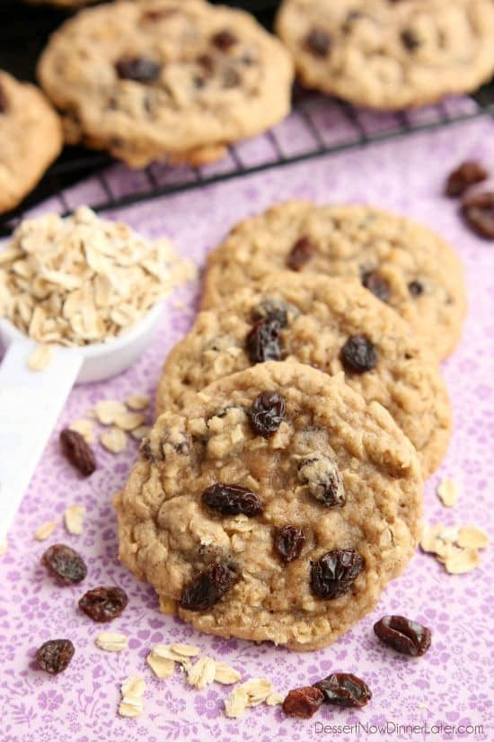 These classic Chewy Oatmeal Raisin Cookies are bursting with vanilla and cinnamon, full of plump raisins and hearty rolled oats, and are perfectly soft and chewy to eat!