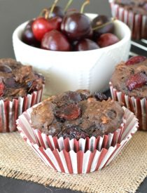 These Chocolate Cherry Banana Bread Muffins are loaded with fresh, plump cherries. They're a perfect way to use up your extra bananas while fresh cherries are in season!