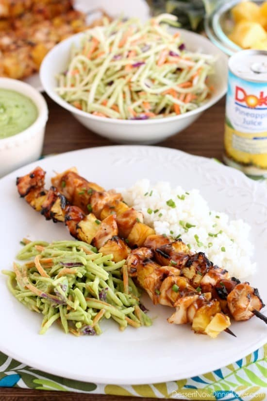 Pineapple Avocado Dressing mixed with broccoli slaw served with grilled Island Chicken Skewers including fresh chunks of DOLE pineapple makes a great summer dinner!