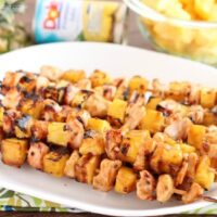 DOLE Island Chicken Skewers with Fresh DOLE Pineapple Chunks