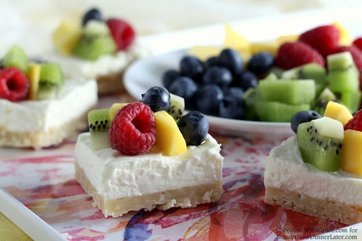 These Fruit Cheesecake Bars have a tender shortbread crust that is topped with a creamy no-bake cheesecake layer that's piled high with fresh fruit.