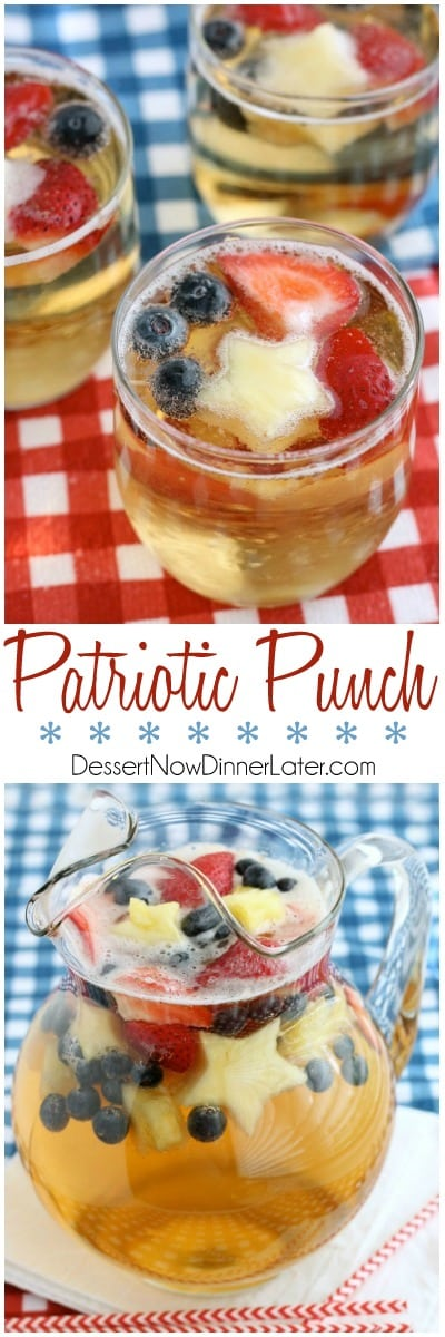 This Patriotic Punch is a fizzy drink made easy with only two ingredients and decorated with fruit for a red, white, and blue, party punch the whole family can enjoy!