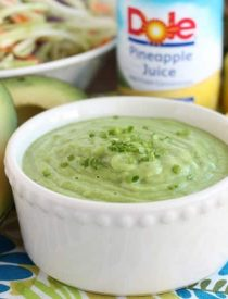This Pineapple Avocado Dressing is made with DOLE pineapple juice, fresh herbs, and a ripe avocado, for a creamy dressing great on kale or broccoli slaw!