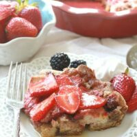 Strawberry Cream Cheese French Toast Bake Casserole makes a delicious & easy breakfast or brunch