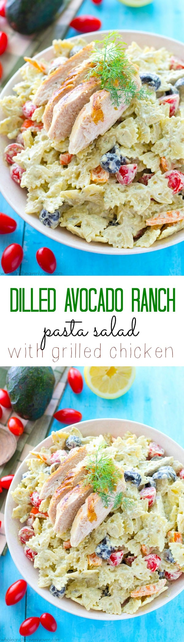 This creamy pasta salad is jam-packed with juicy grilled chicken, a rainbow of colorful veggies, and a light, flavorful homemade avocado ranch dressing. Bring this salad to any picnic and watch it vanish!