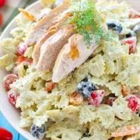 Dilled Avocado Ranch Pasta Salad with Grilled Chicken