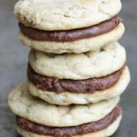 Peanut Butter Sandwich Cookies with Fudge Frosting