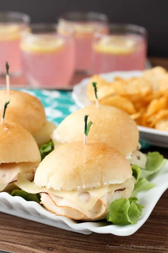 Cordon Bleu Sliders are made easy with deli meat, swiss cheese, honey dijon mayo, and freshly baked Rhodes® dinner roll slider buns!
