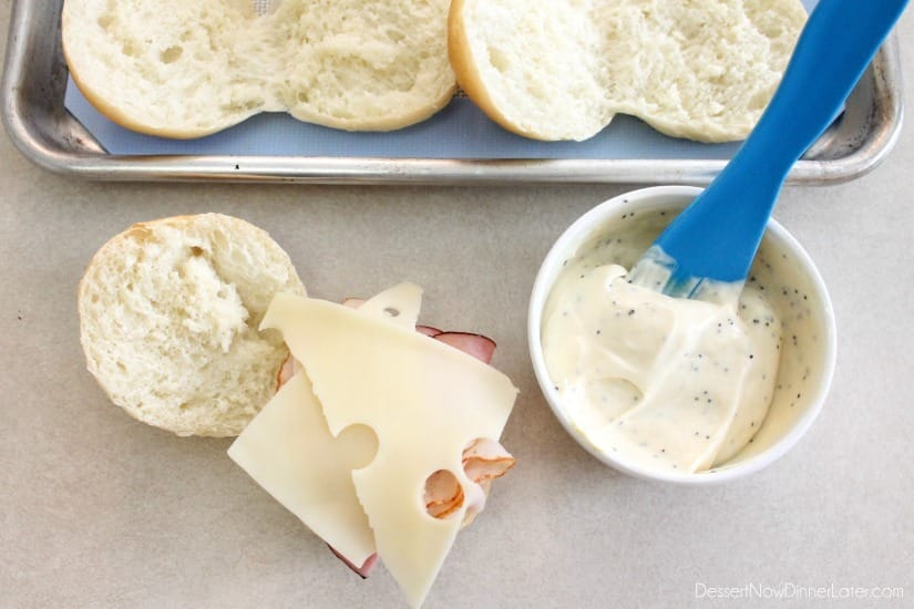 ... Bleu Sliders - layer deli chicken, ham, deli chicken, and swiss cheese