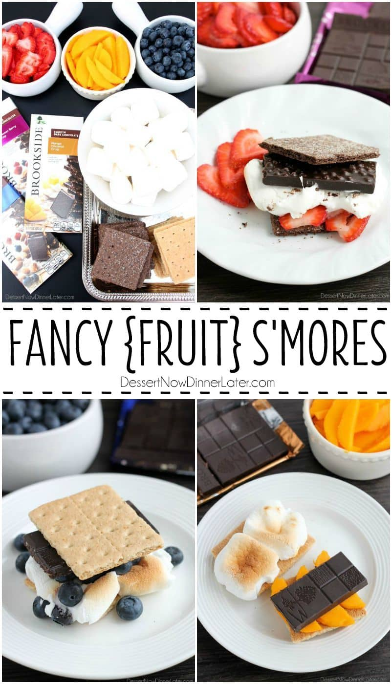 Fancy Fruit S'mores are made with Brookside's smooth dark chocolate and fruit bars, real fresh fruit, and toasted marshmallows sandwiched between honey or chocolate graham crackers. A delicious and unique treat to serve at your next gathering.