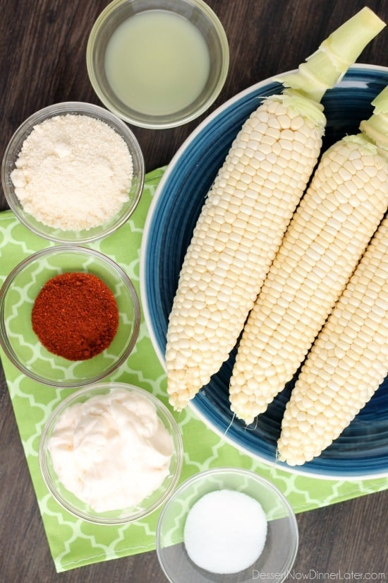 This Mexican Corn on the Cob is grilled and slathered in a chili-lime mayo. Finish it off with a sprinkle of cheese and you won't want corn on the cob any other way!