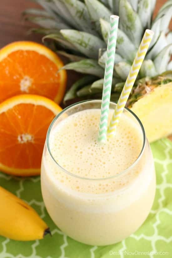 Wake up happy with this Sunrise Smoothie full of bright and refreshing citrus and tropical fruits!