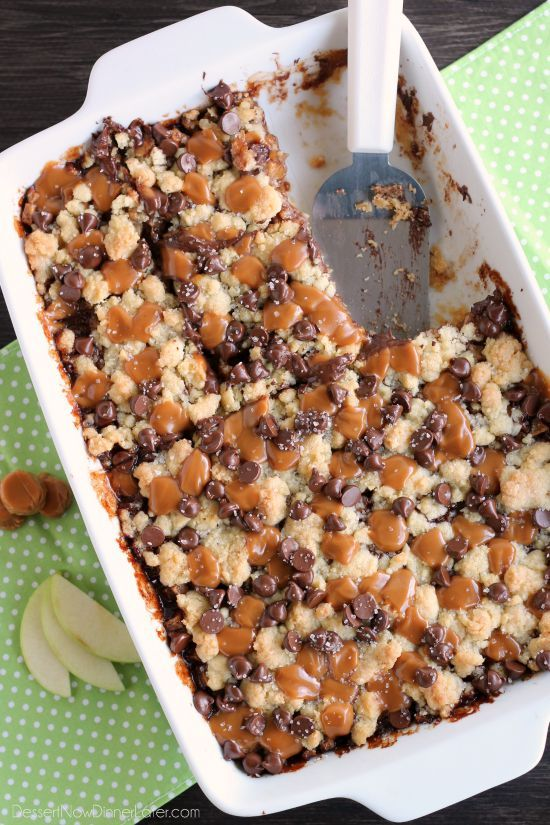 Chocolate Caramel Apple Crumb Bars - These dessert bars have a buttery crust and crumble on top, a gooey cinnamon-sugar apple filling, with caramels, chocolate chips, and sea salt sprinkled on top.