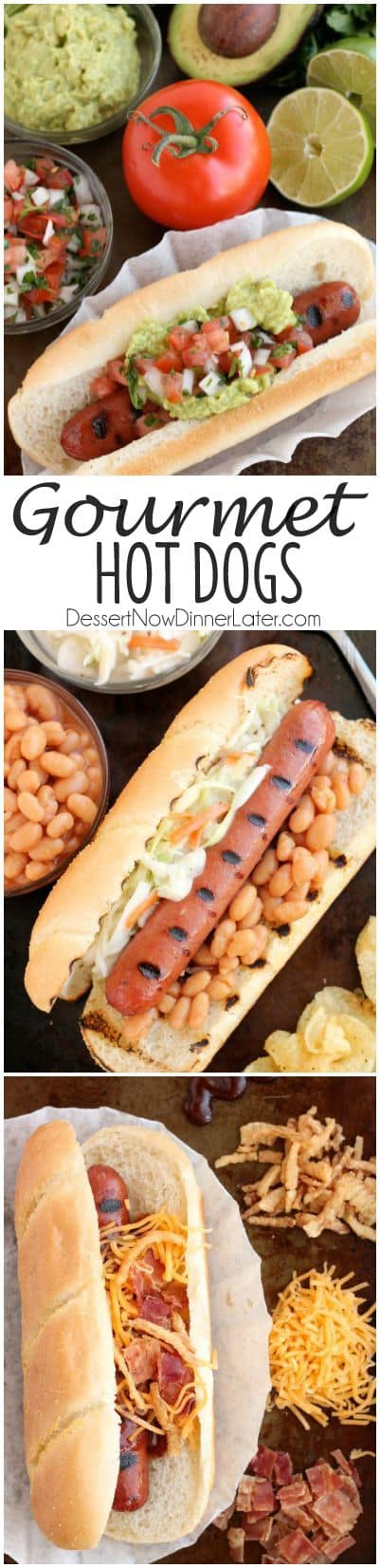 For your next barbecue or backyard grilling party, impress your guests with these Gourmet Hot Dogs 3 Ways: Mexican, Southern, and Western-style.