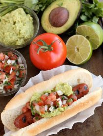 This gourmet Mexican Hot Dog is made with Ball Park Park's Finest all beef hot dogs topped with freshly made guacamole and pico de gallo.