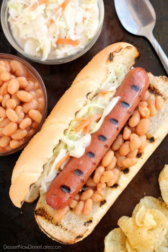 This gourmet Southern inspired Hot Dog is made with Ball Park Park's Finest all beef hot dogs topped with baked beans and creamy cole slaw.