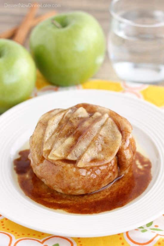 This single serving Upside-Down Apple Cinnamon Roll cooks in 2 minutes in the microwave! The perfect fall dessert for one!