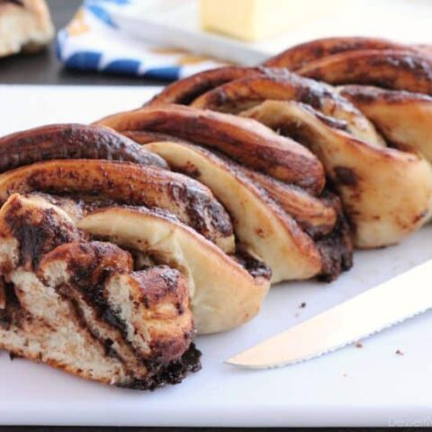 Rhodes frozen dough and Nutella is all you need to make this twisted loaf of delicious bread! Get the step-by-step photo tutorial and make it asap!