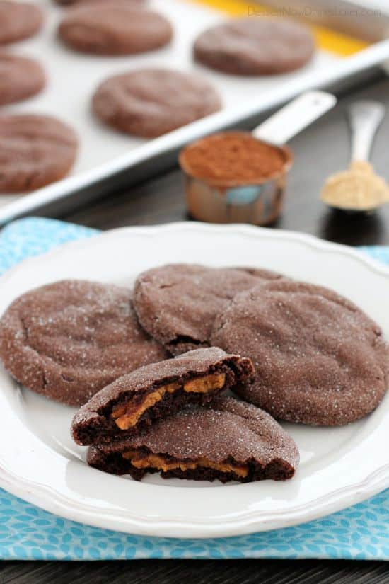 These Peanut Butter Stuffed Chocolate Cookies are soft and indulgent, but use peanut powder for less fat, without compromising taste!