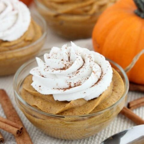 This lightened up Pumpkin Mousse is gluten and dairy free, and full of pumpkin spices! Perfect for a healthier Thanksgiving or fall dessert!