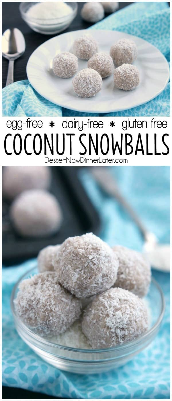 No-bake Coconut Snowballs are simple and delicious! The perfect healthy dessert to curb that sweet-tooth craving! Bonus: They're egg, dairy, and gluten free!