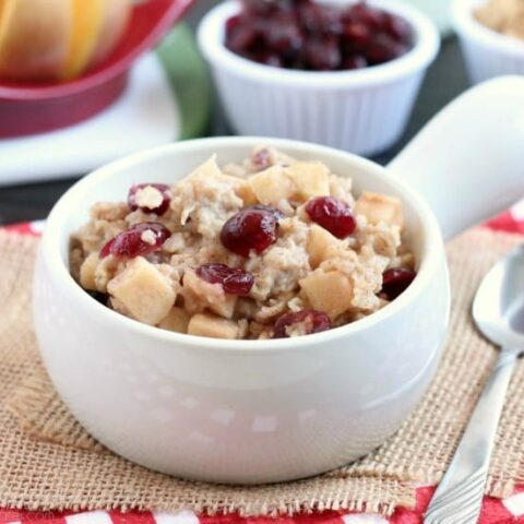 Hearty oatmeal gets a tangy twist with Craisins and fresh apples. Bonus! This cranberry apple oatmeal is made in the slow cooker for a hot breakfast ready when you are!
