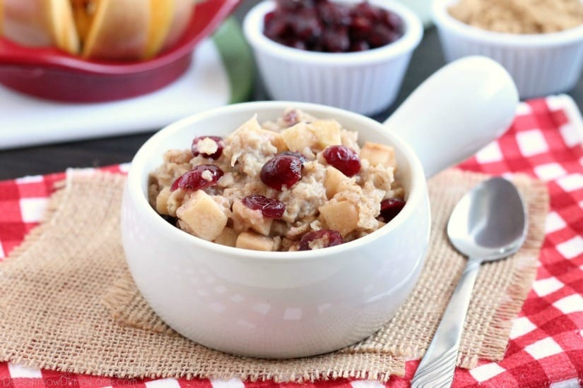 Hearty oatmeal gets a tangy twist with Craisins® and fresh apples. Bonus! This cranberry apple oatmeal is made in the slow cooker for a hot breakfast ready when you are!