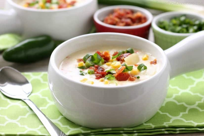 This Creamy Chicken and Corn Chowder is hearty and comforting with generous helpings of chicken, corn, bacon, green onions, potatoes and a slight kick of jalapeño.