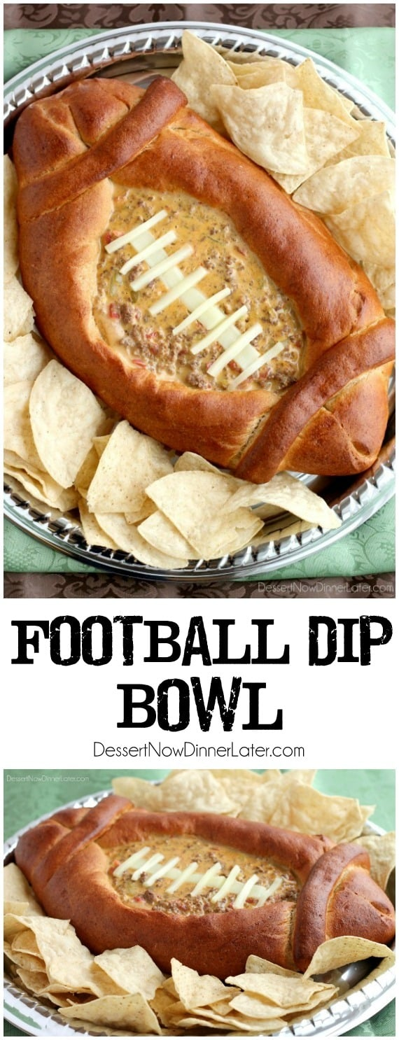 This Football Dip Bowl is made with a frozen whole wheat dough that is shaped into a football with a place to hold your favorite queso dip! Make laces with cut up string cheese and you have a fun, football themed party food! (Step-by-step photos included.)